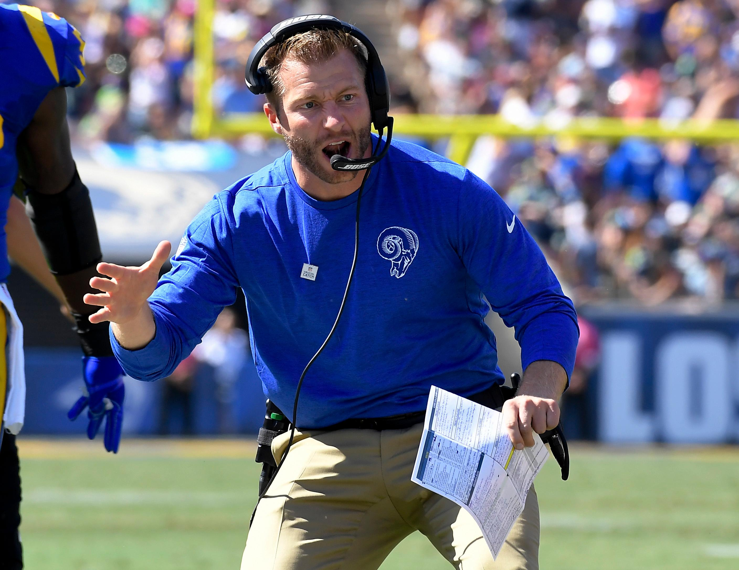 Los Angeles Rams head coach Sean McVay celebrates after a touchdown against the Seattle Seahawks during the first half of an NFL football game Sunday, Oct. 8, 2017, in Los Angeles. (AP Photo/Mark J. Terrill)