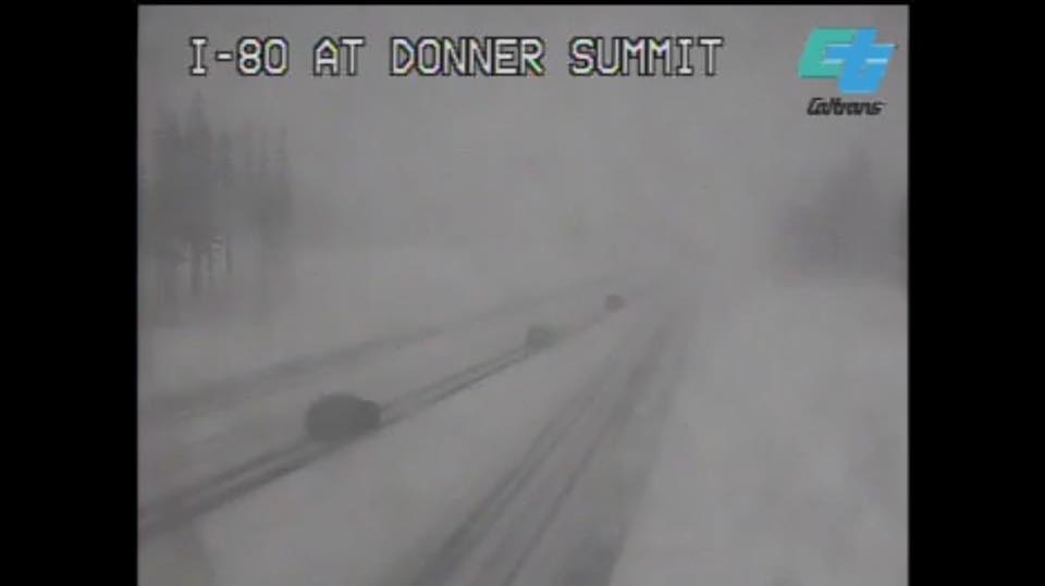 Snow blankets Interstate 80 at the Donner Summit on Thursday, Feb. 9, 2017 (Screenshot: CalTrans)