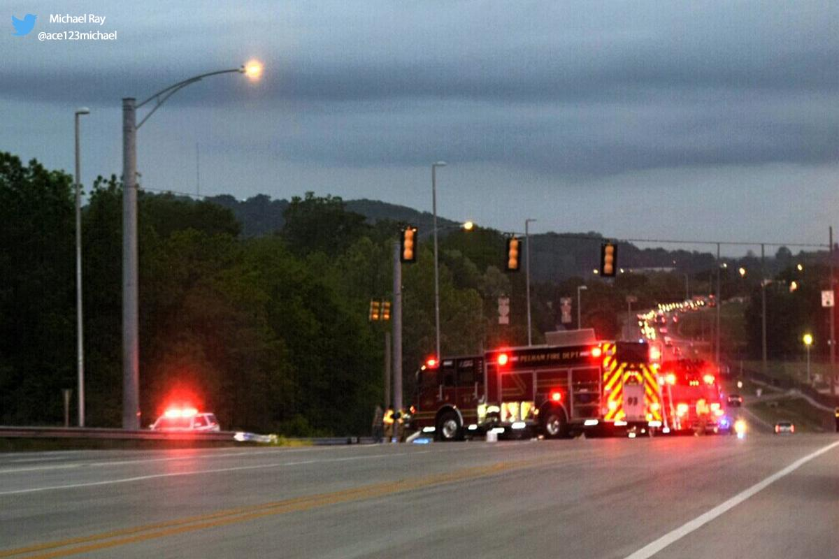 Pelham police are on the scene of an overturned 18-wheeler on Highway 52 East at the I-65 overpass. (Pelham crash courtesy Michael Ray)