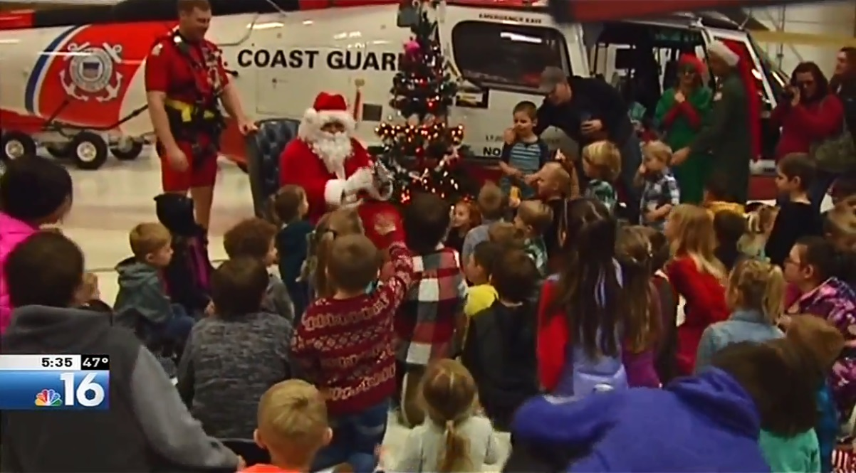 The annual Christmas celebration is put on for local Coast Guard families and always features an appearance by St. Nick, Dec. 16, 2017. (KMTR image)