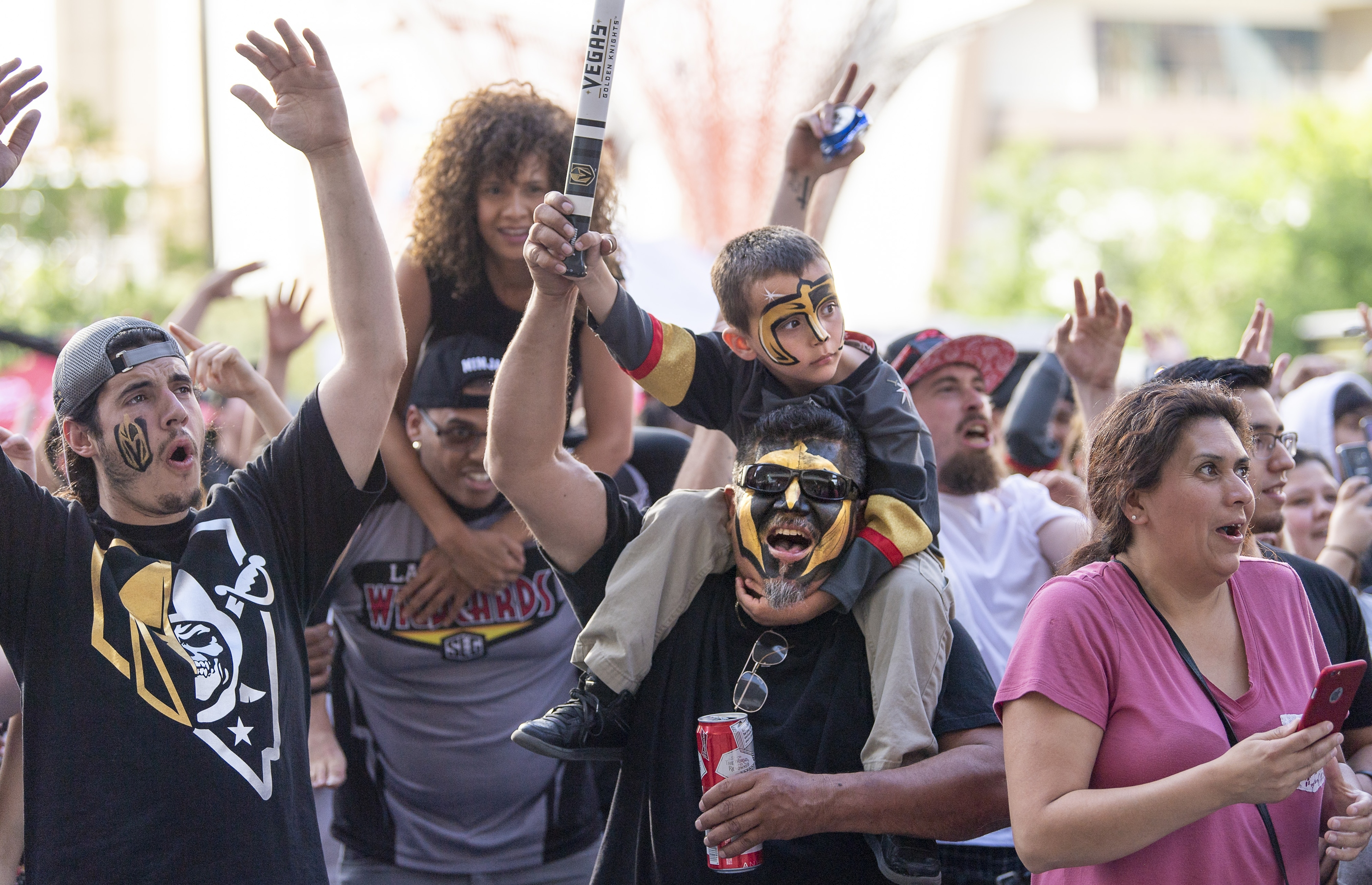 Fans enjoy the pre-game celebration in Toshiba Plaza as the Vegas Golden Knights prepare to meet the Los Angeles Kings in the first quarterfinal game of the NHL Stanley Cup Playoffs at T-Mobile Arena in Las Vegas on Wednesday, April 11, 2018.  CREDIT: Mark Damon/Las Vegas News Bureau