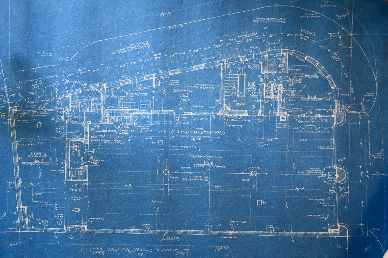 The original blueprints for the building were drafted many years before the building was erected. It is unclear why construction was delayed, but the date on the blueprints—October 1941—suggest the bombing of Pearl Harbor and America's entry into WWII may have had a direct impact on its production. / Image: Phil Armstrong, Cincinnati Refined // Published: 10.4.19