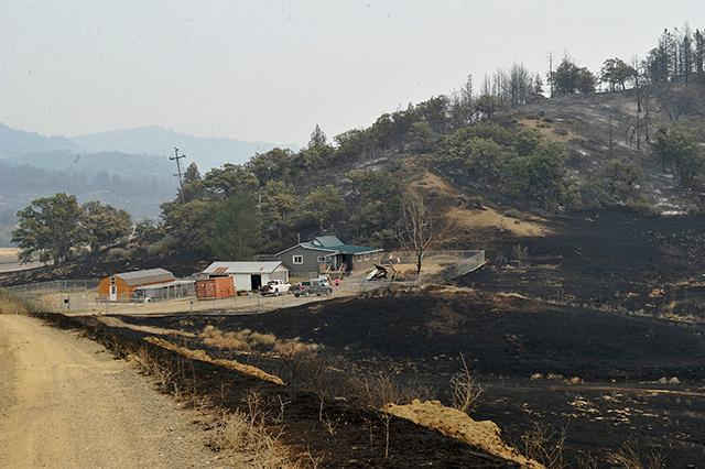Hills near Hornbrook are blackened by the Klamathon fire.
