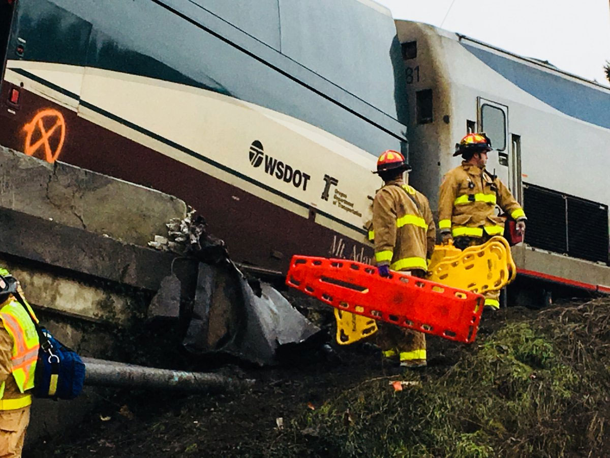 Three people were killed when an Amtrak train derailed near DuPont, Wash. Monday, Dec. 18, 2017. (Photo: Pierce County Sheriff's Department)<p></p>