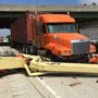 Portion of I-16E closed indefinitely after truck collides with overpass