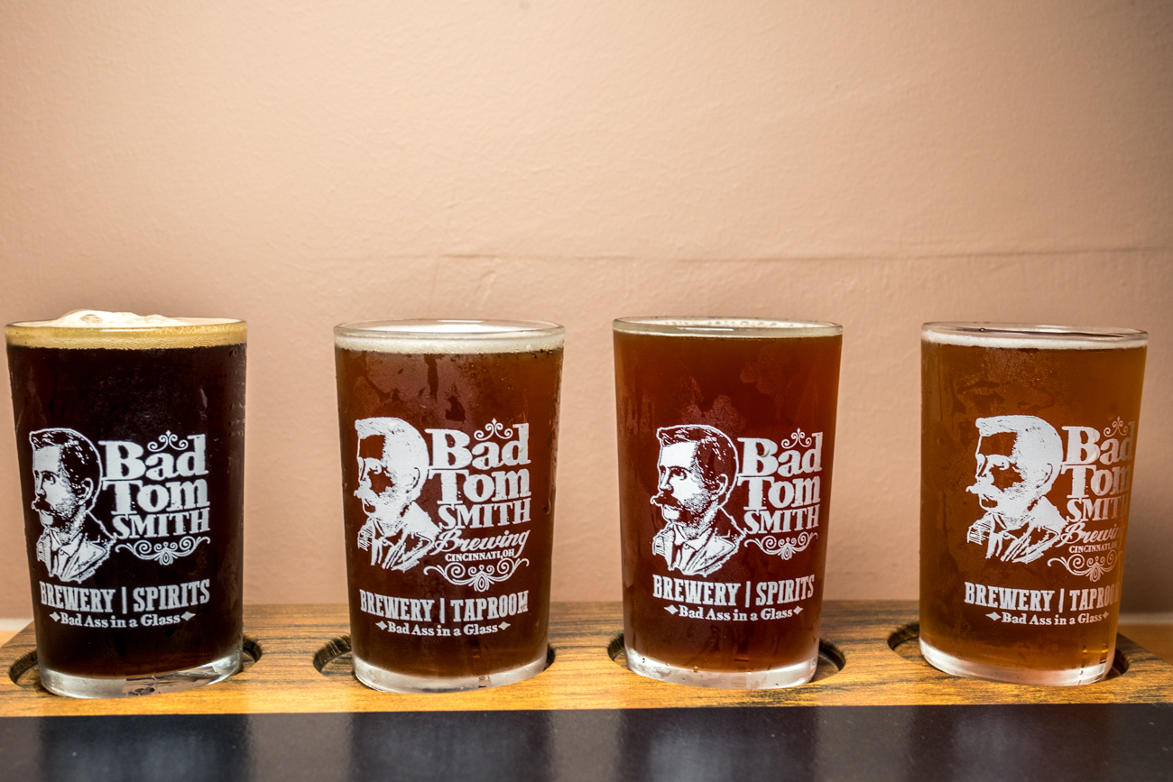 A flight including Bad Tom Smith American Brown Ale, Doc's Kentucky Common, Fink Red Rye, and 13 Preachers Marzen Lager / Image: Catherine Viox{ }// Published: 1.20.20