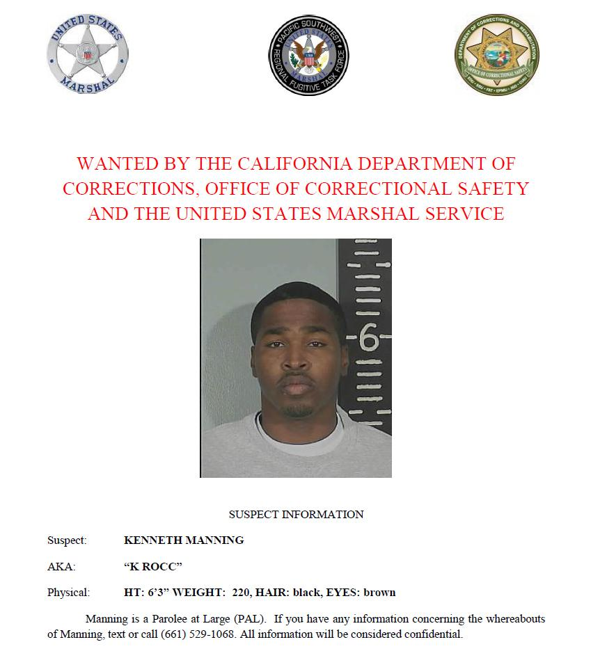 Kenneth Manning is wanted by the California Department of Corrections and Rehabilitation, Office of Correctional Safety and the U.S. Marshals Service. Call or text with confidential tips to (661) 529-1068.