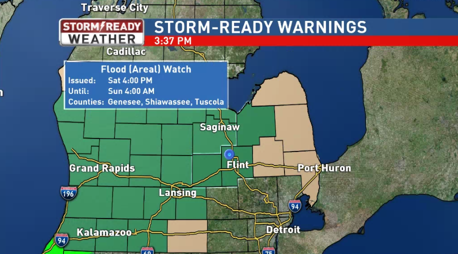 A Flood Watch is in effect until 4 am Sunday morning.{&amp;nbsp;}{&amp;nbsp;}<p></p>