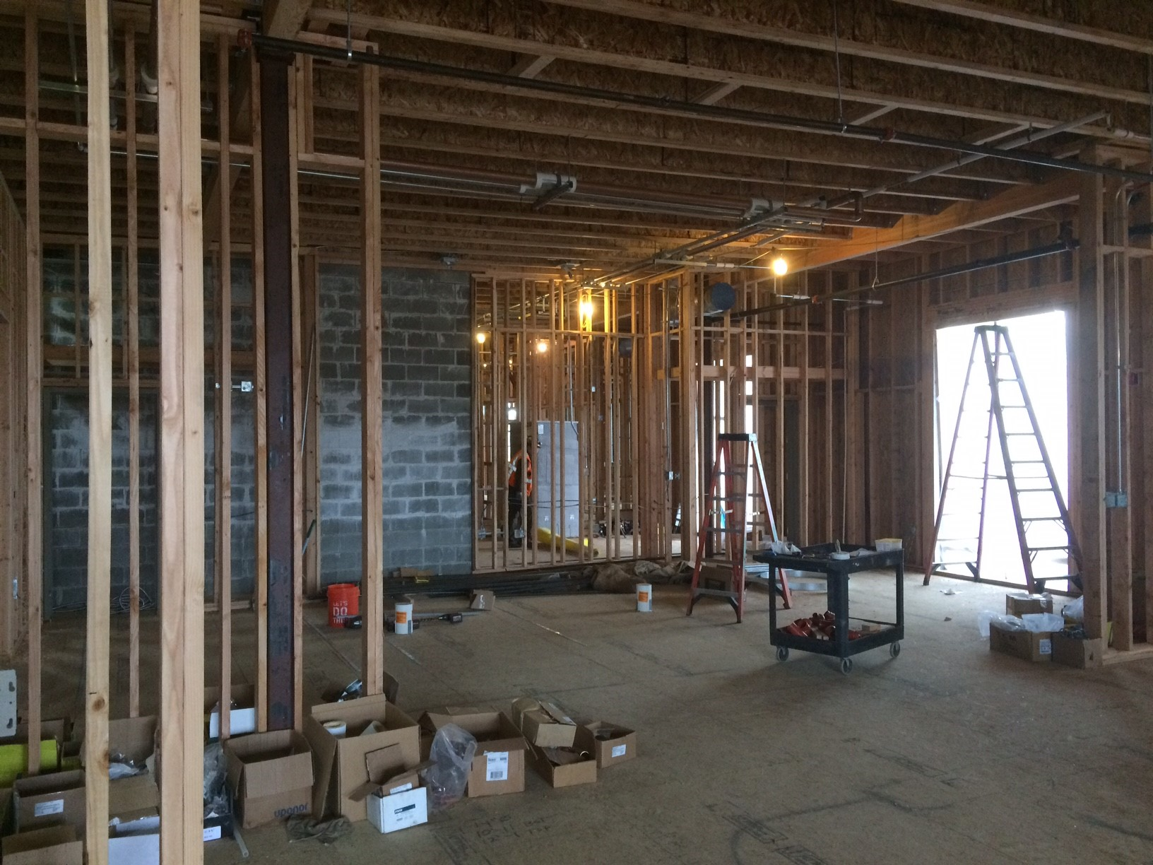 A new $10 million fire station is going up downtown, paid for by a voter-approved bond measure.  While it's just nuts and bolts and planks and screws for now, in four months this will be the new Station 11 and administrative headquarters for the Albany Fire Department. (SBG)