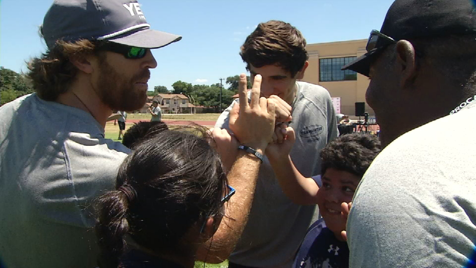 Former Texas Longhorn Jordan Shipley helps out with coaching at a kids football camp called Teammates ProCamp, which was held at at Jefferson High School. (Photo: Sinclair Broadcast Group)