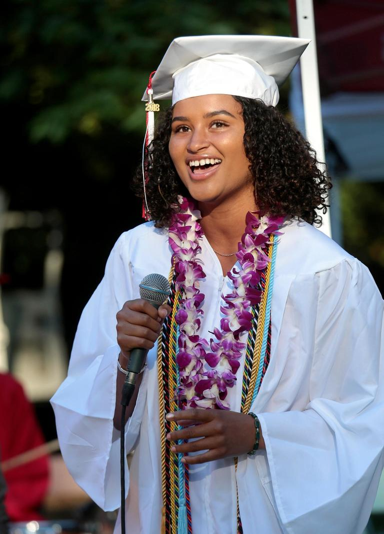 Graduating Senior Mouminatou Thiaw performing during the Ashland High Class of 2018 Commencement Ceremony at Lithia Park.   [ / PHOTO BY:  LARRY STAUTH JR]