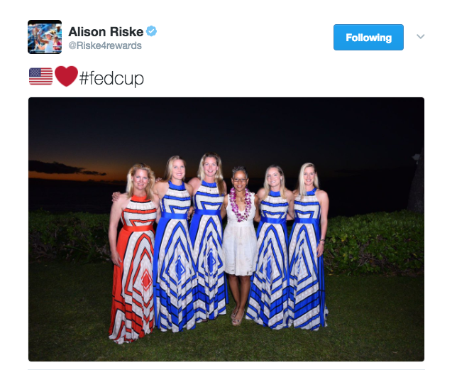 Alison Riske posts a photo on Twitter with her USA Fed Cup teammates in Hawaii from their first round match-up against Germany. USA def. Germany to advance to the Fed Cup semifinals.