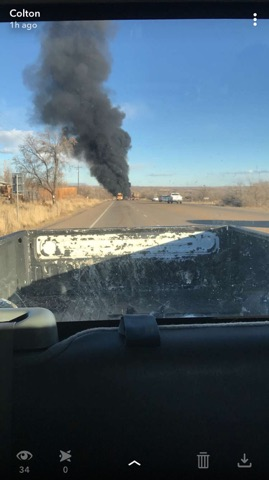 Tanker crash, fire closes Highway 40 in both directions (Photo: Colton Roberts / KUTV)