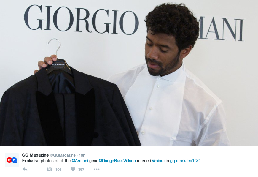 """Exclusive photos of all the @Armani gear @DangeRussWilson married @ciara in http://gq.mn/xJea1QD"" (Image: @GQmagainze / twitter.com/GQmagazine)"
