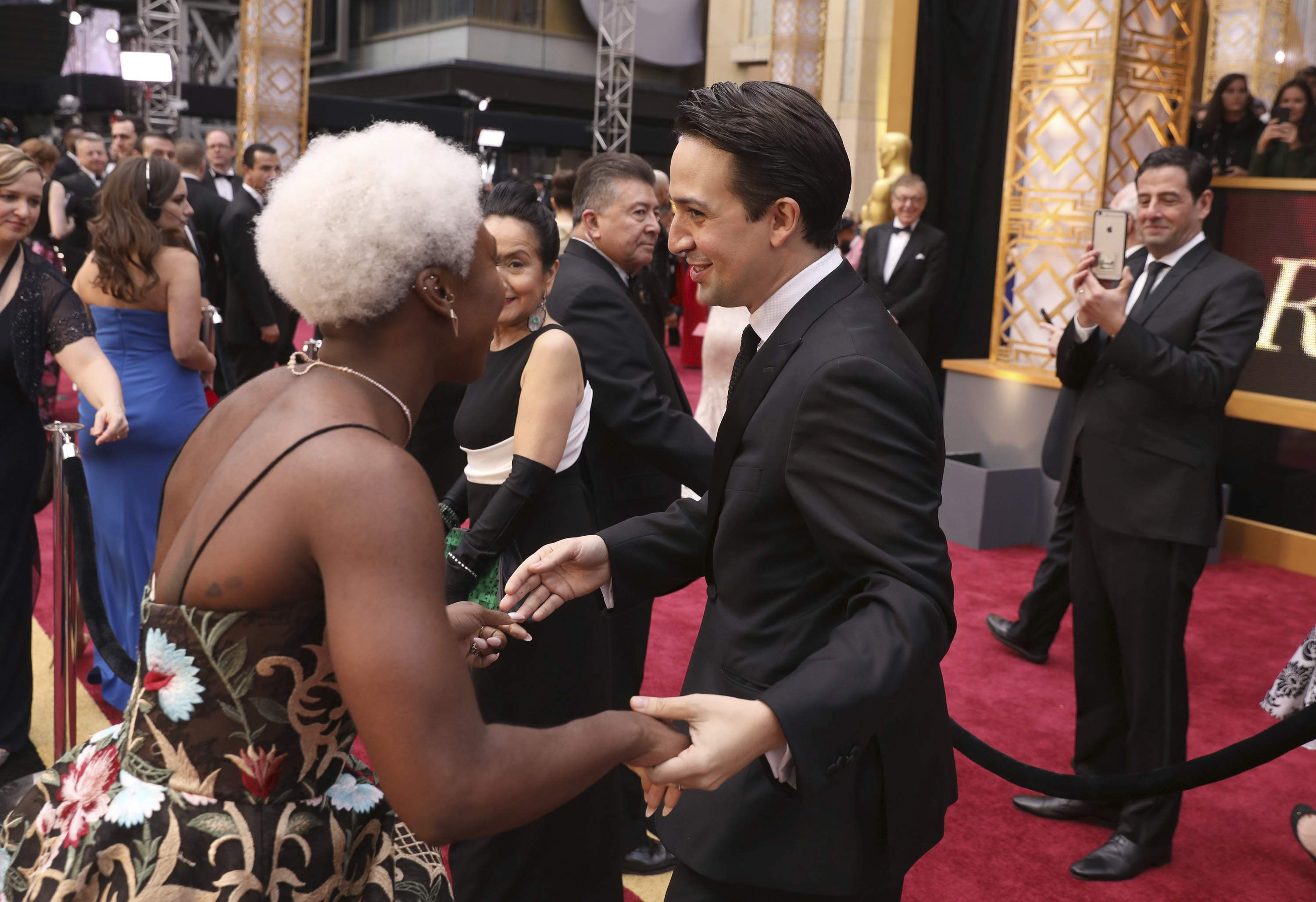 Cynthia Erivo, left, and Lin-Manuel Miranda arrive at the Oscars on Sunday, Feb. 26, 2017, at the Dolby Theatre in Los Angeles. THE ASSOCIATED PRESS