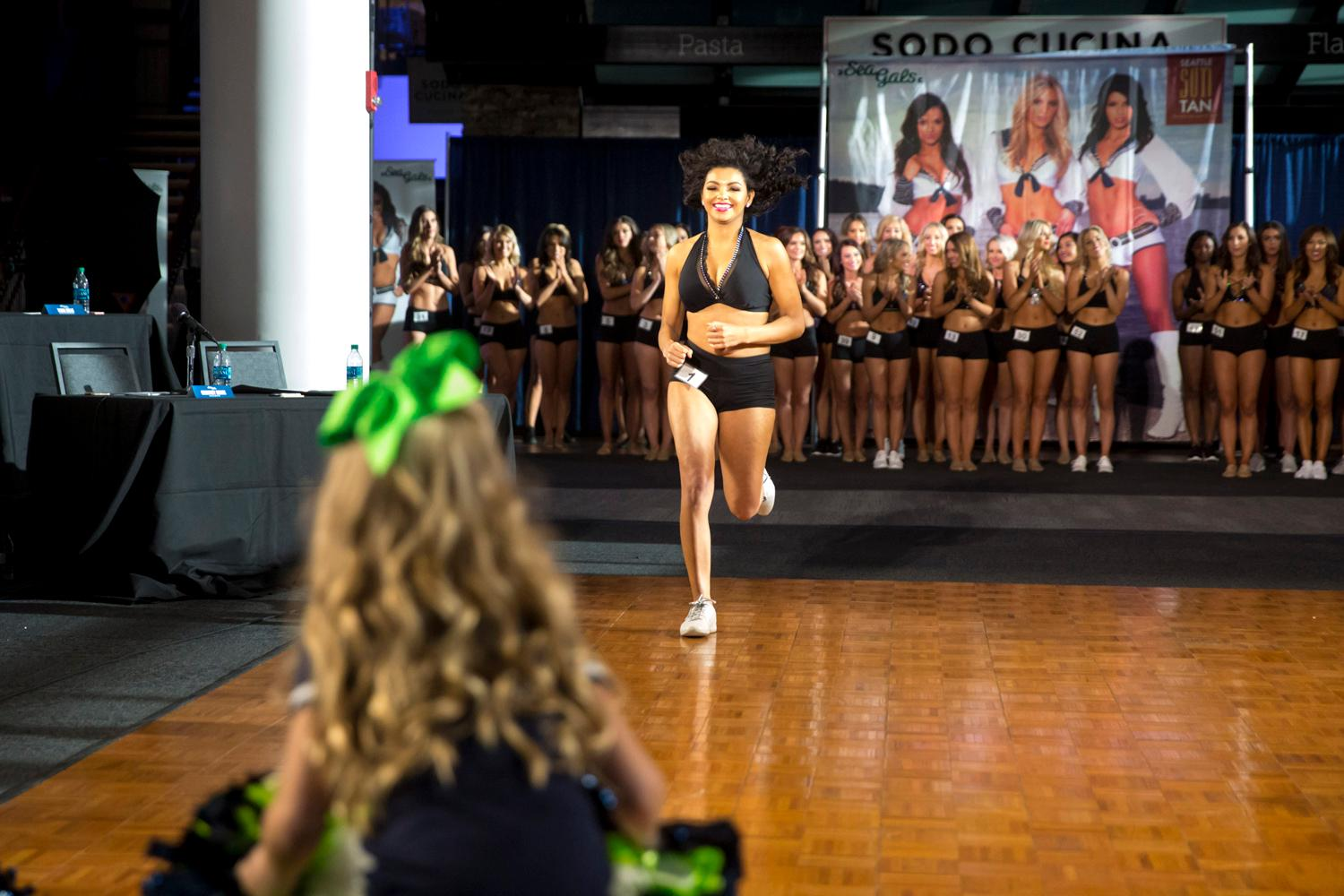 Welcome Kristin, a 2018 Sea Gal! Dancers performed a choreographed routine and spoke briefly about themselves. The entire evening was live broadcasted on the Seahawks website. (Sy Bean / Seattle Refined)