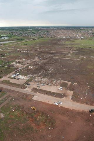 From this aerial view, you can see the path the tornado took through Moore.