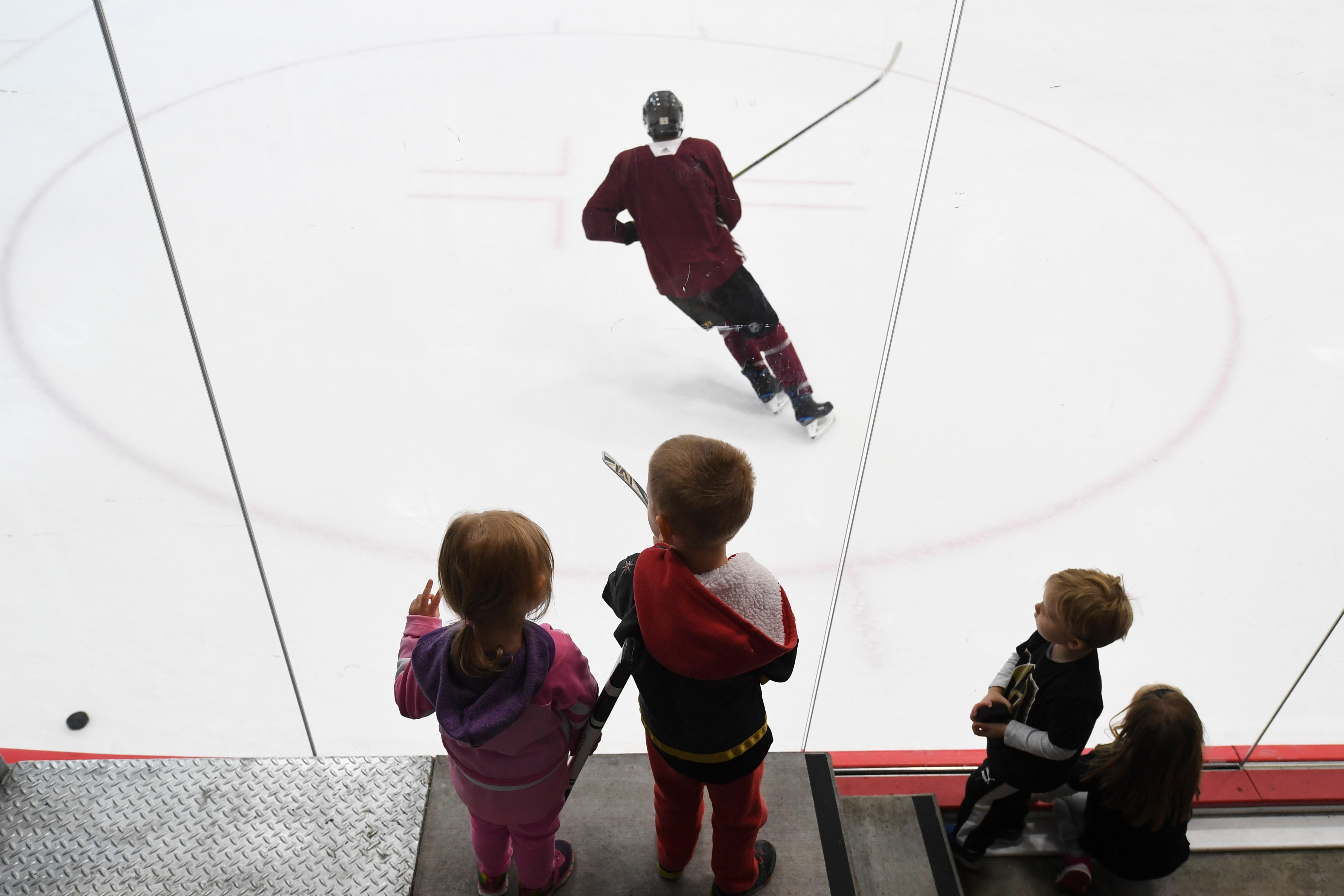 Young fans watch during the Vegas Golden Knights practice Friday, April 20, 2018, at City National Arena in Las Vegas. CREDIT: Sam Morris/Las Vegas News Bureau
