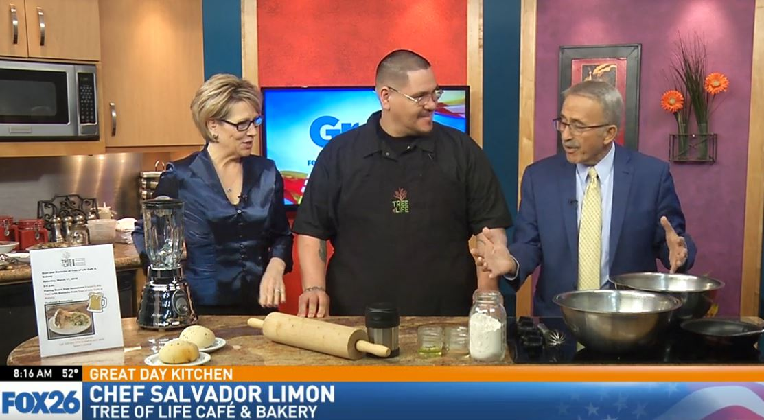 Chef Salvador Limon making Vegan Pizza Dough in the Great Day Kitchen