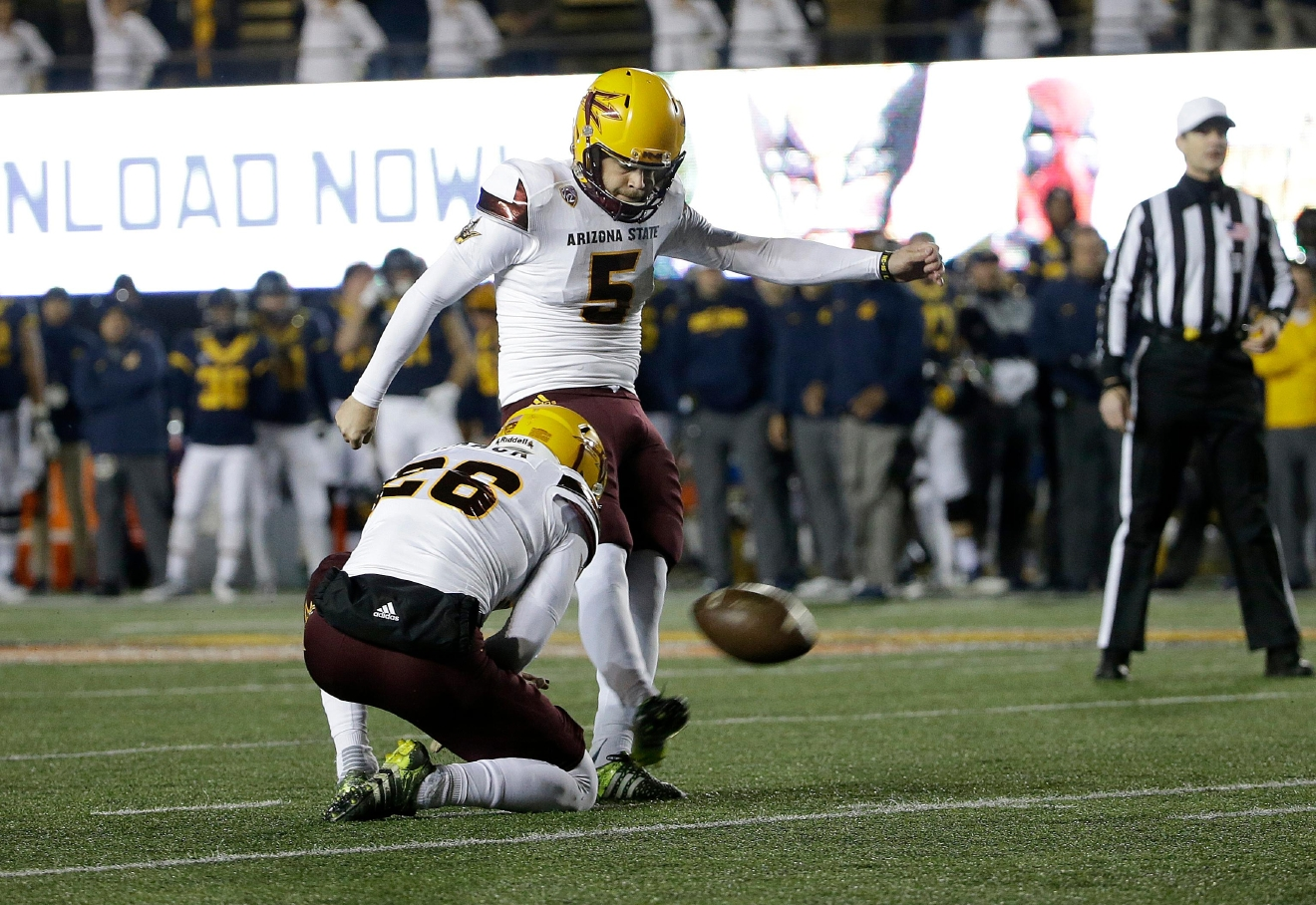 FILE - In this Nov. 28, 2015, file photo, Arizona State place kicker Zane Gonzalez (5) kicks a field goal during the first half of of an NCAA college football game against California in Berkeley, Calif. Gonzalez was selected to the 2016 AP All-America college football team, Monday, Dec. 12, 2016.  (AP Photo/Jeff Chiu, File)
