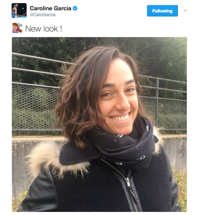 Caroline Garcia takes to Twitter to show off her new look.