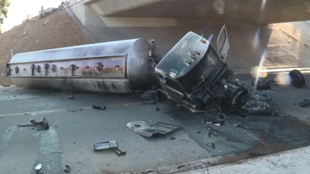 Tanker slides off overpass in Fresno   KMPH
