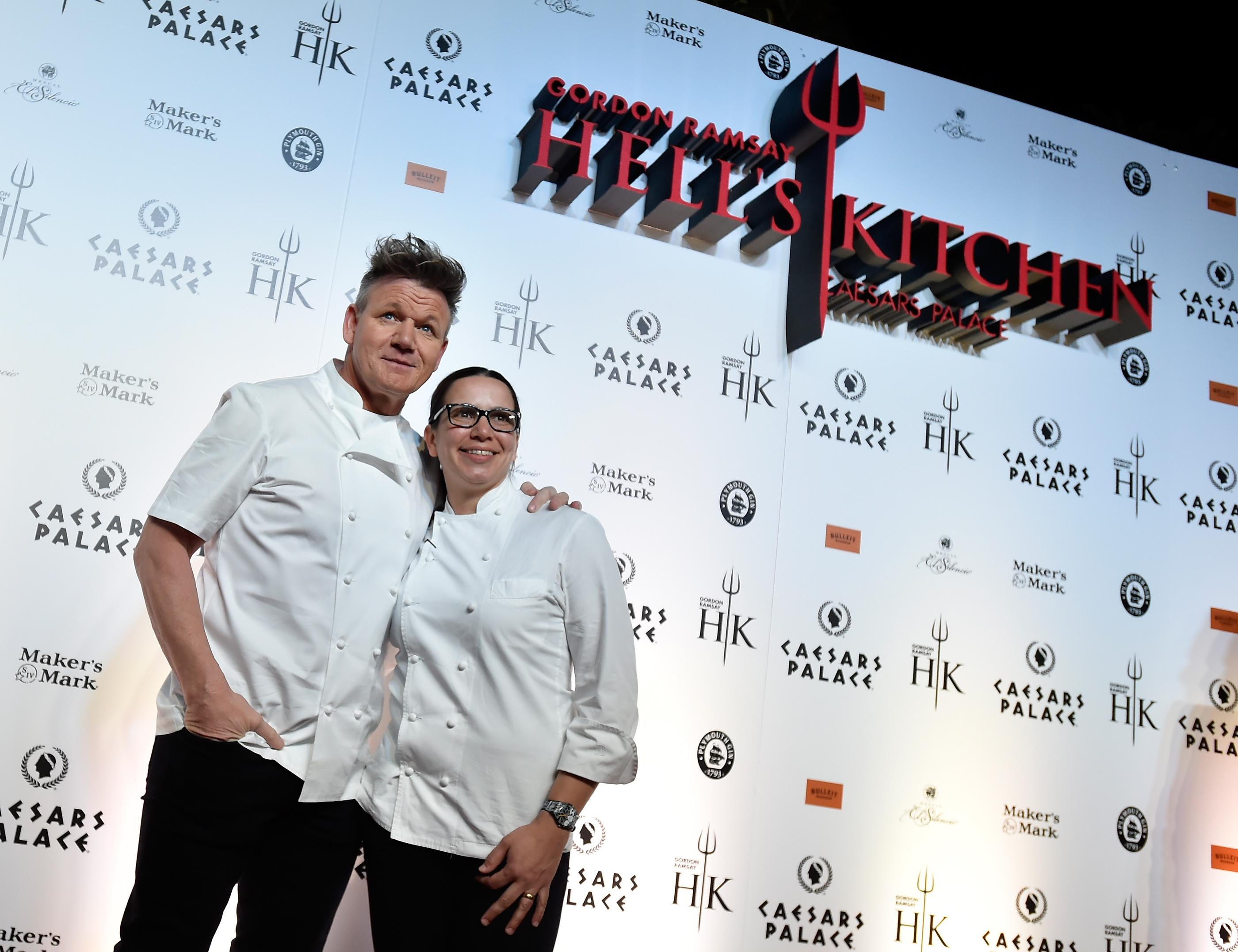 Chefs Gordon Ramsay, left, and Hell's Kitchen season 10 winner Christina Wilson attend the grand opening of Gordon Ramsay Hell's Kitchen at Caesars Palace Friday, Jan. 26, 2018, in Las Vegas. CREDIT: David Becker/Las Vegas News Bureau