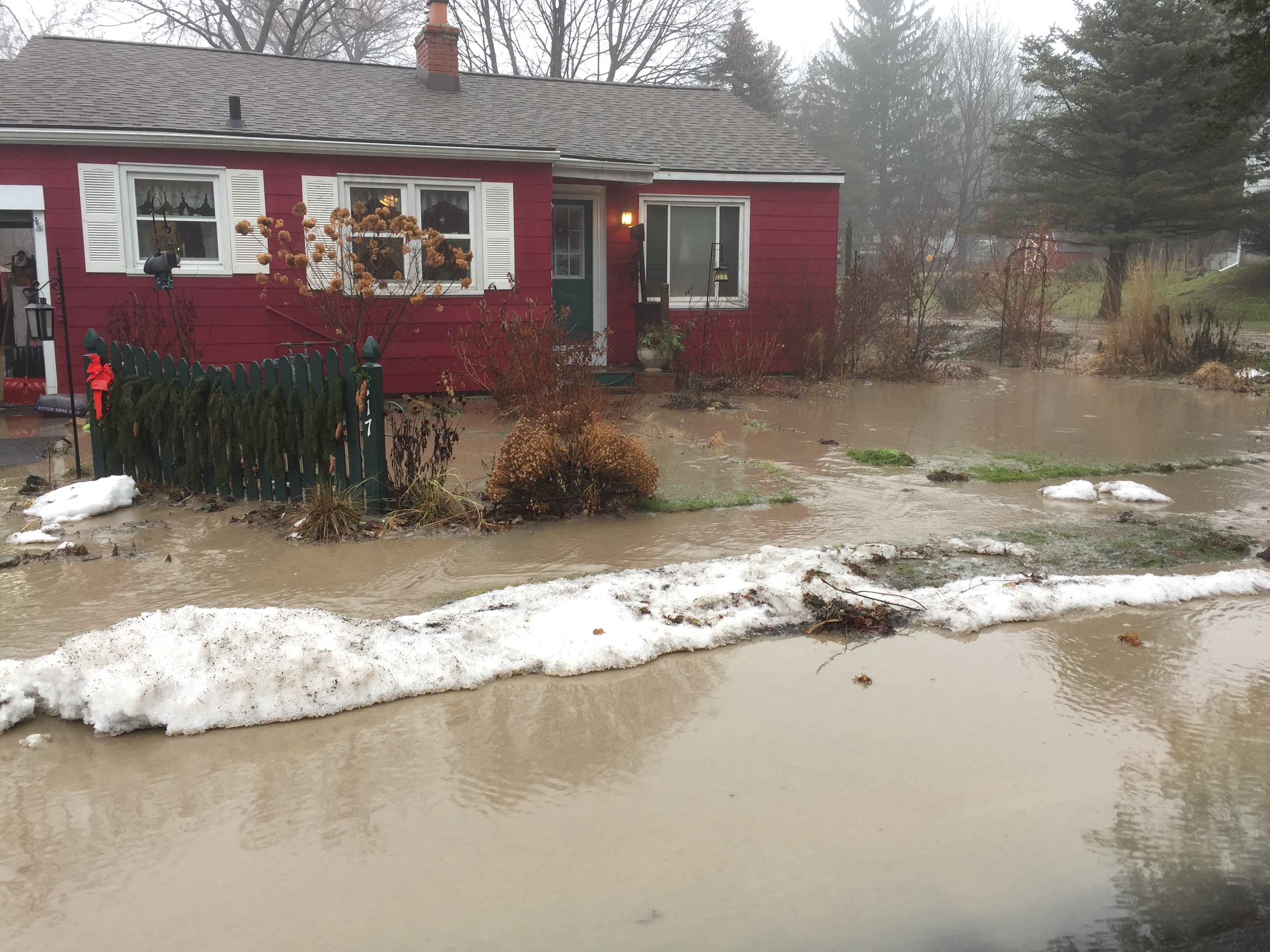 A flooded home on Byrne Place in Syracuse