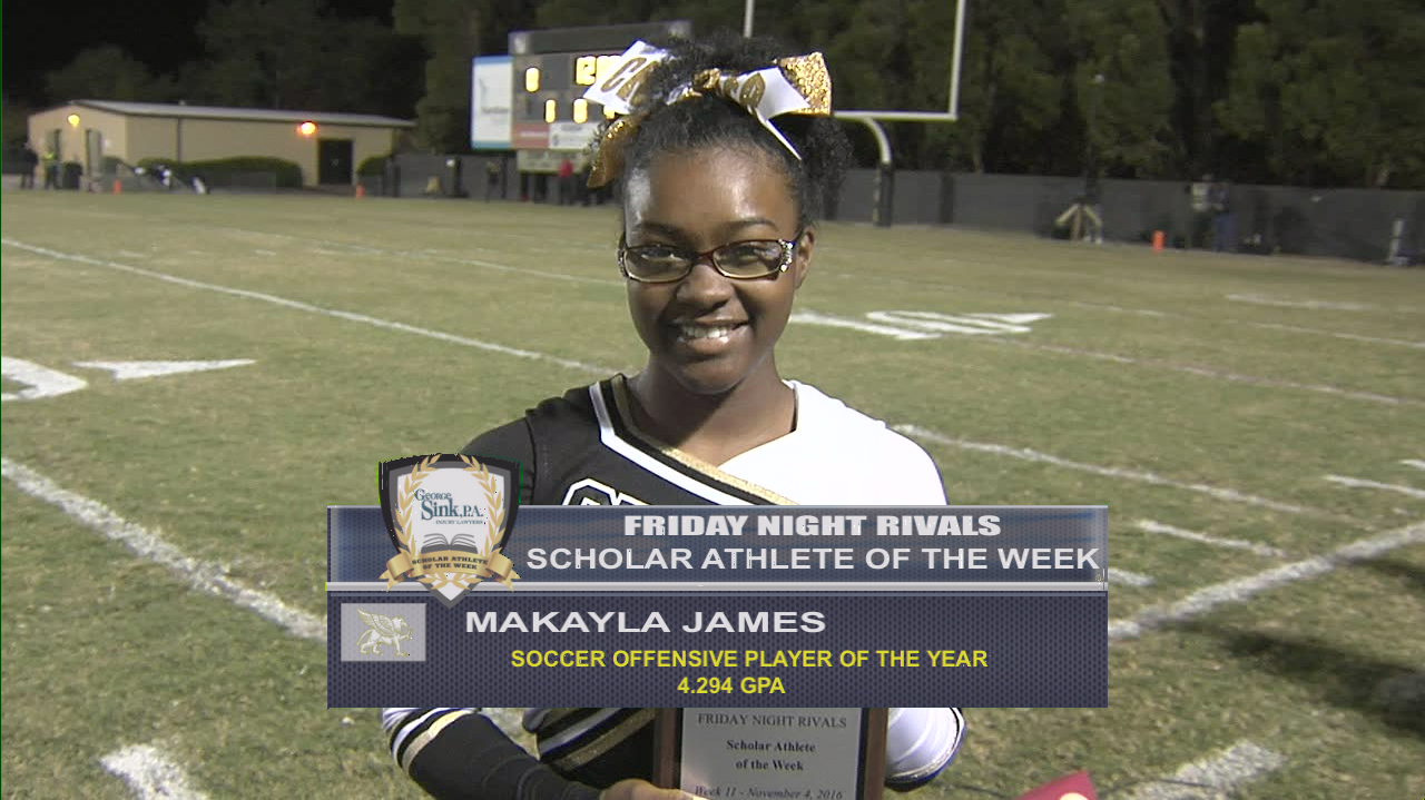 This week's Friday Night Rivals George Sink Injury Lawyers Scholar Athlete of the Week from Fairfield Central High School is MaKayla James.