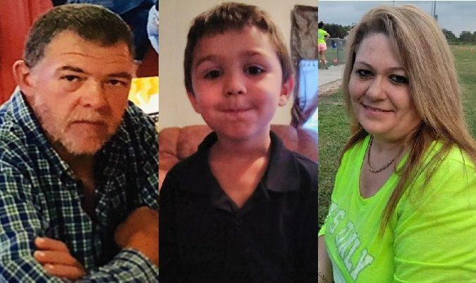 <p>Left to right: Scott Morris, 51, Charlie Nichols, 5, and Kandy Nichols, 45. (Photos provided by family members)</p>