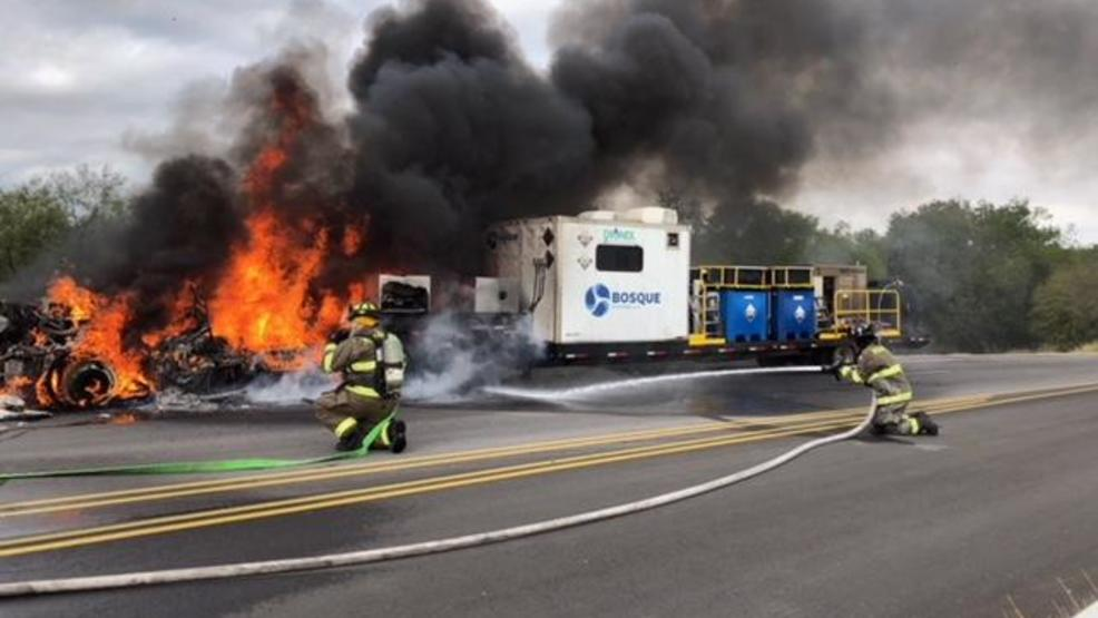WATCH: Pleasanton fire and rescue fight vehicle fire on highway | KABB