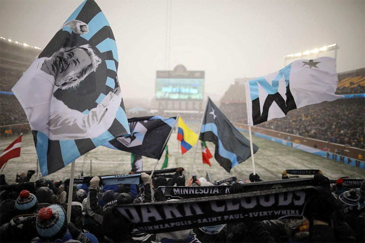 DFans wave banners as players are introduced before  an MLS soccer game between Atlanta United and Minnesota United, Sunday, March 12, 2017, in Minneapolis, Minn. (Jeff Wheeler/Star Tribune via AP)
