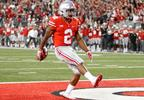In this Sept. 10, 2017, file photo, Ohio State running back J.K. Dobbins celebrates a touchdown against Oklahoma during a game, in Columbus, Ohio.