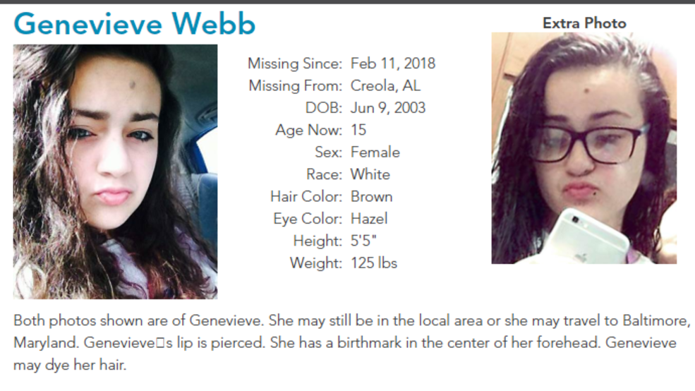 (IMAGE: wpmi) (IMAGE: wpmi) Creola teen reported missing speaks out
