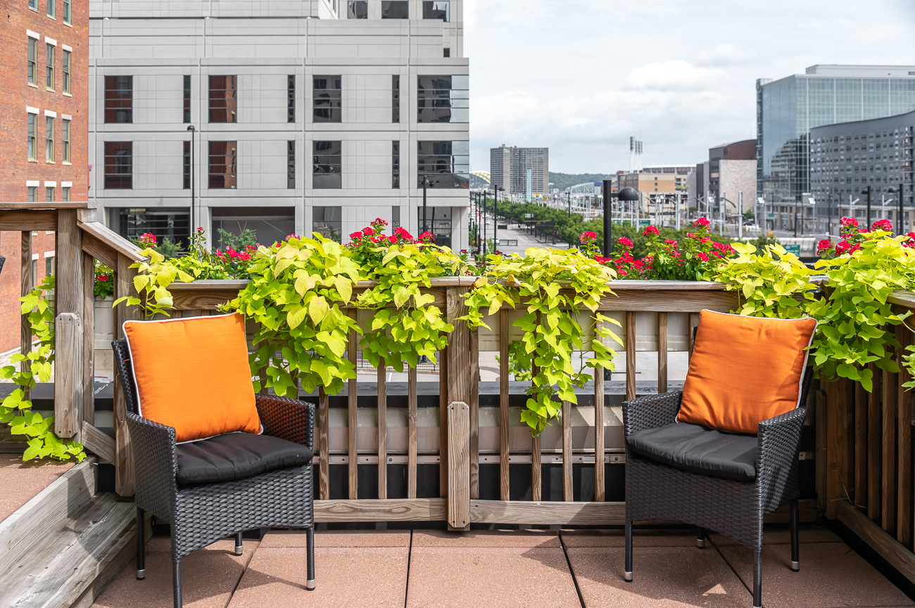 The patio is decorated nicely with plants and flowers. / Image: Phil Armstrong, Cincinnati Refined // Published: 10.4.20