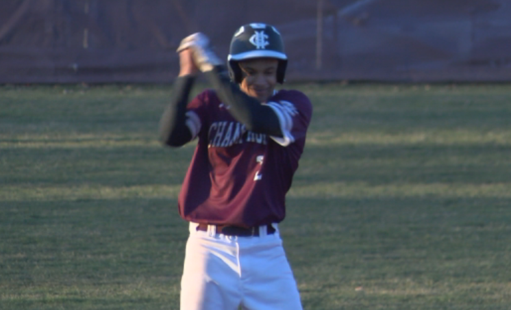 Connor Milton with a Fortnite style celebration after his RBI double