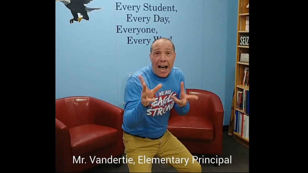 In this screen shot taken from video posted Wednesday Feb. 6, 2019, by the Southern Door County School District, elementary school principal Cory Vandertie performs a dance to announce a snow day on Thursday.