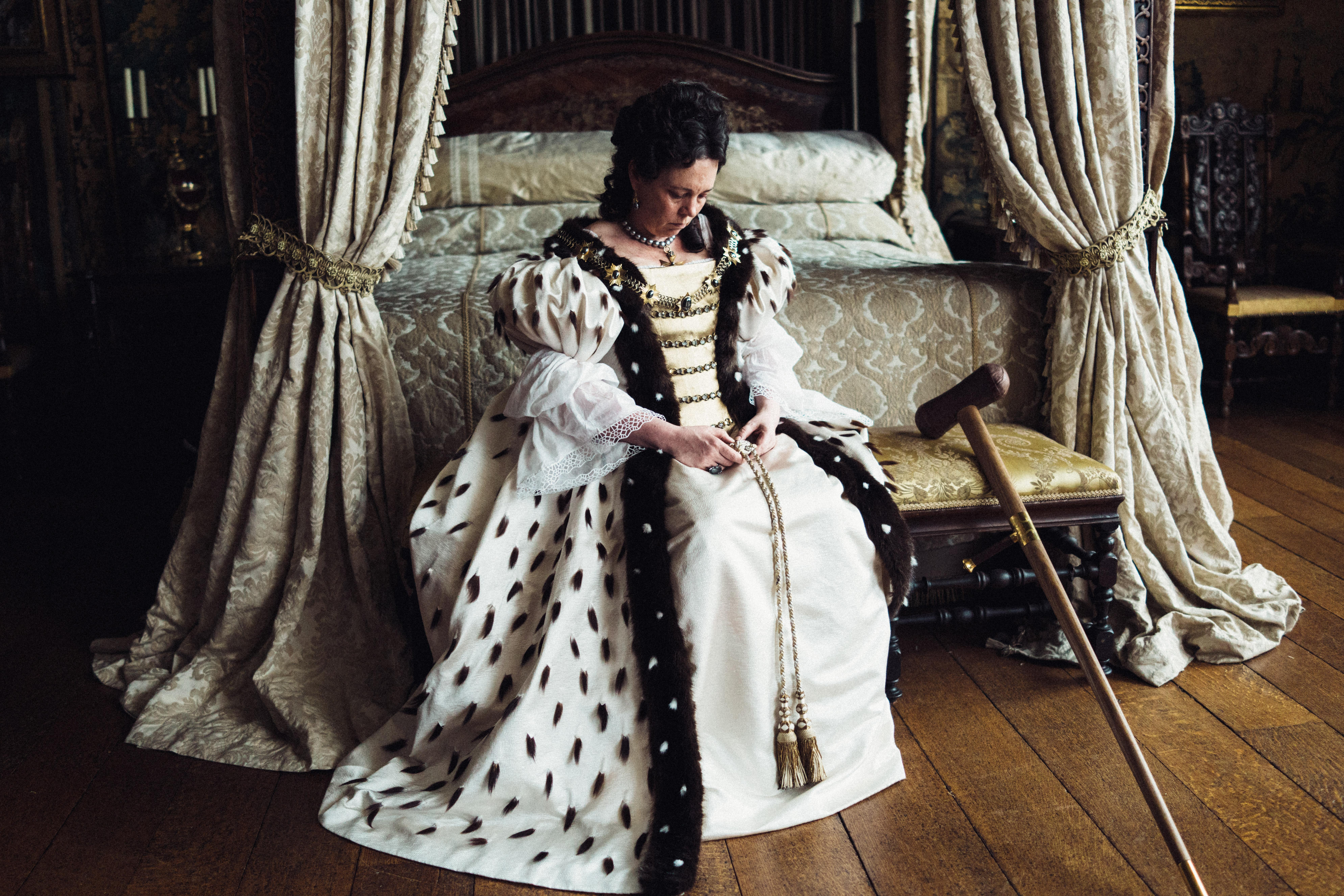 Olivia Colman in the film THE FAVOURITE. Photo by Yorgos Lanthimos.{ }© 2018 Twentieth Century Fox Film Corporation All Rights Reserved