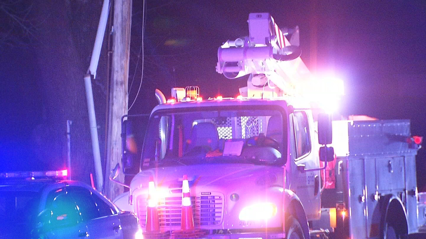 A car crashed into a pole in Johnston early Tuesday, Feb. 6, 2018, leaving some residents without power. (WJAR)