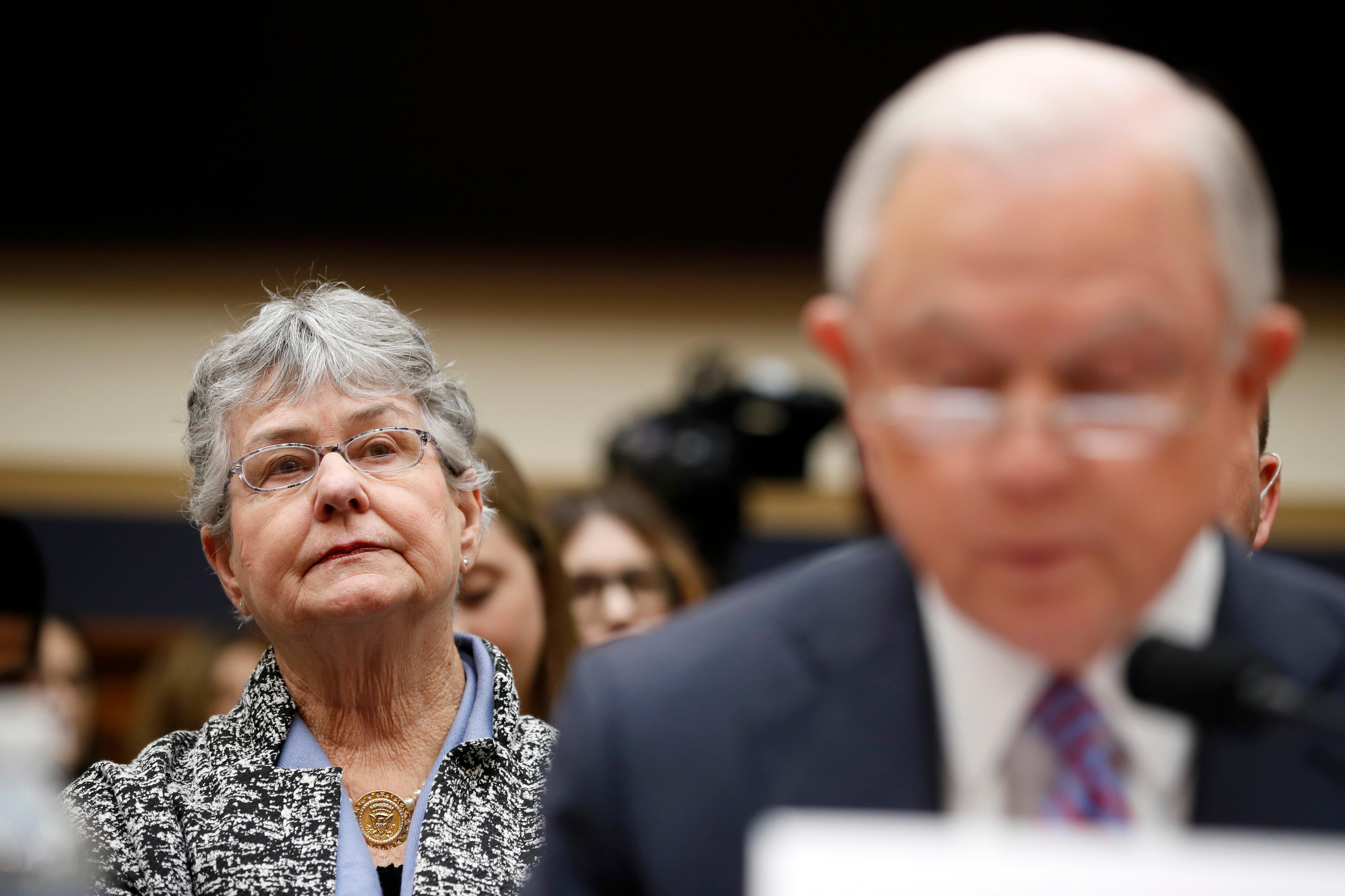 Mary Sessions, left, listens as her husband Attorney General Jeff Sessions speaks during a House Judiciary Committee hearing on Capitol Hill, Tuesday, Nov. 14, 2017 in Washington. (AP Photo/Alex Brandon)
