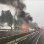 Photos: Semi fire causes delays on I-90