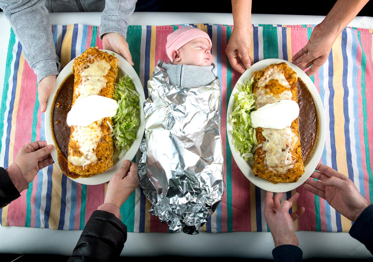 Gorditos Mexican Food boasts something called a Baby Burrito on their menu, claiming it's the size of a newborn infant. So we made a call, and brought a couple little ones (with their parents permission, of course) over to the restaurant for a little test - and photoshoot! The verdict? Little one-week-old Mollie was awfully darn close, while three-month-old Matilda was at least twice the size! Big thanks to both babies and their families for helping us with this fun shoot. Gorditos is located in Greenwood at 213 N. 85th St. (Image: Sy Bean / Seattle Refined){ }