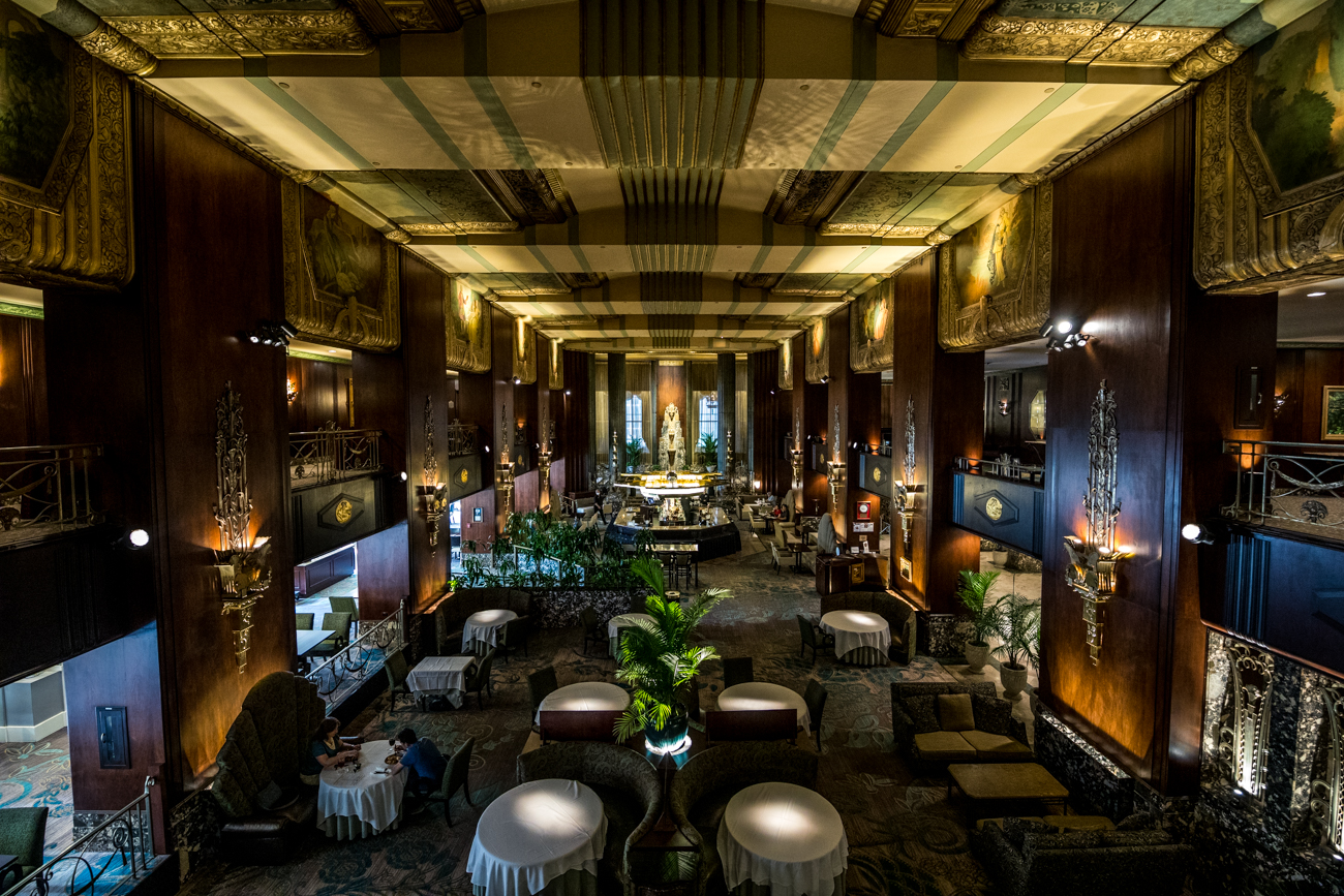 PLACE: The Bar at Palm Court at Hilton Netherland Plaza / ADDRESS: 35 W. 5th Street (Downtown) / From the Art Deco design to the original Rookwood Pottery fountain, The Bar at Palm Court is a stunning space to sip specialty cocktails and wine or grab something to eat off their appetizer menu. / Image: Catherine Viox // Published: 9.8.20