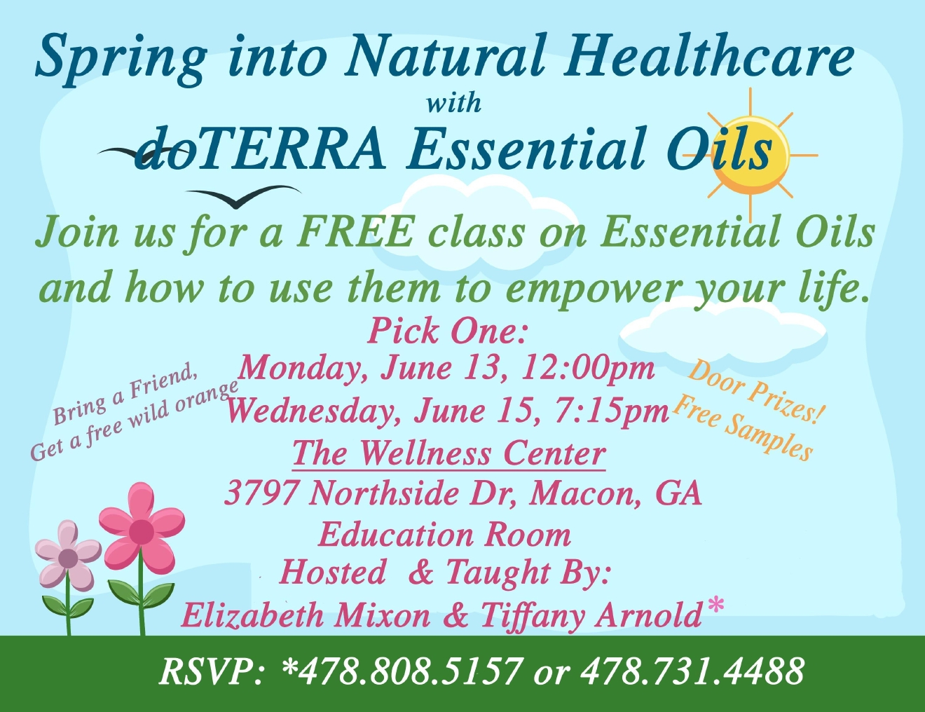 Essential Oil classes are offered in Macon. E. Mixon