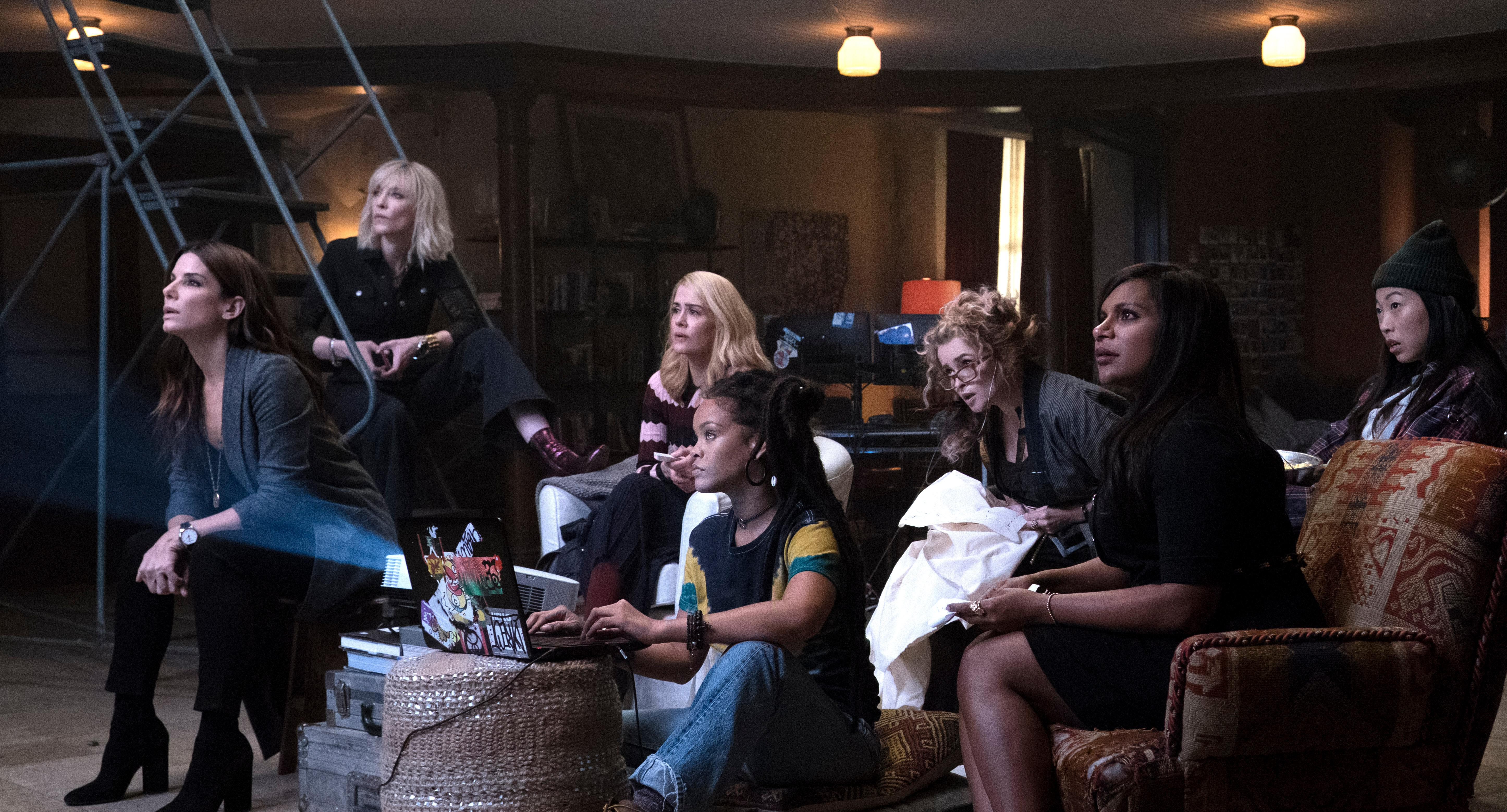 "(L-R) SANDRA BULLOCK as Debbie Ocean, CATE BLANCHETT as Lou, SARAH PAULSON as Tammy, RIHANNA as Nine Ball, HELENA BONHAM CARTER as Rose, MINDY KALING as Amita and AWKWAFINA as Constance in Warner Bros. Pictures' and Village Roadshow Pictures' ""OCEANS 8,"" a Warner Bros. Pictures release.{ }(Photo: Barry Wetch / Warner Bros.)"