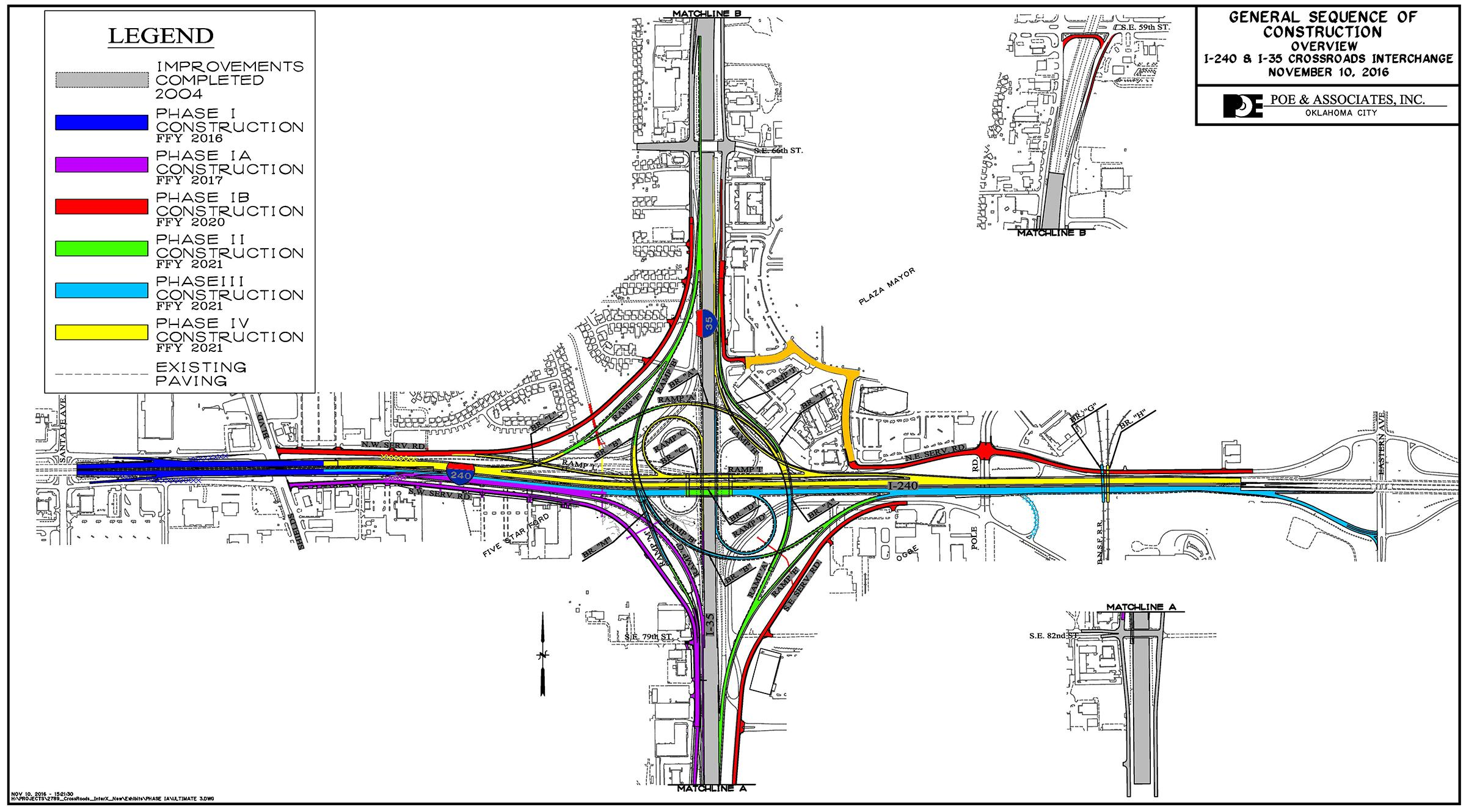 All phases planned for I-240/I-35 corridor improvement. Phase one was completed in 2016. Phase two begins Monday, June 19. (Courtesy: ODOT)