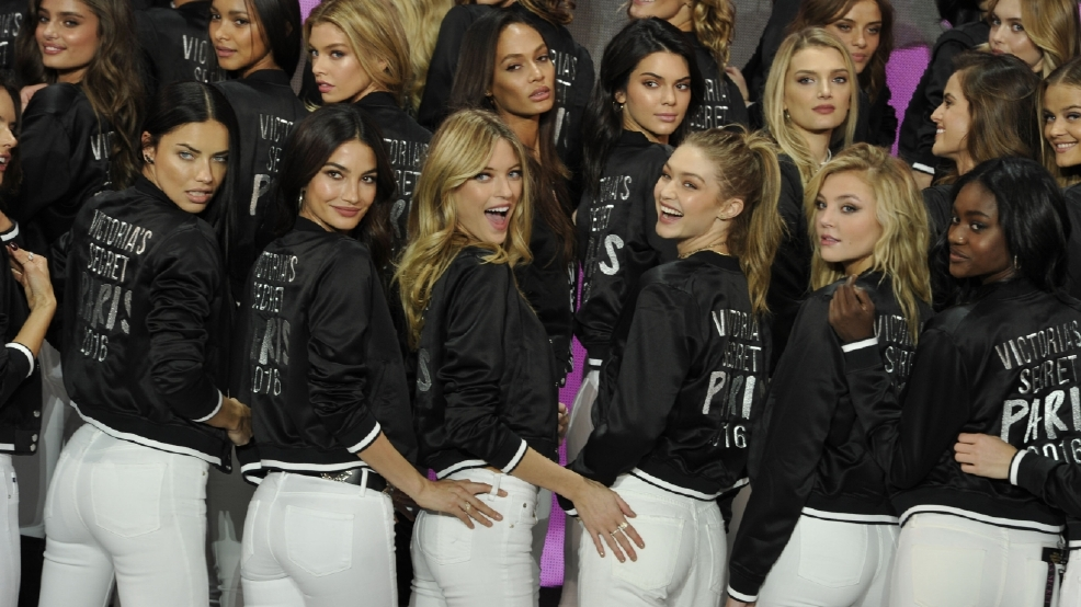 Victoria's Secret models prepare to hit the runway