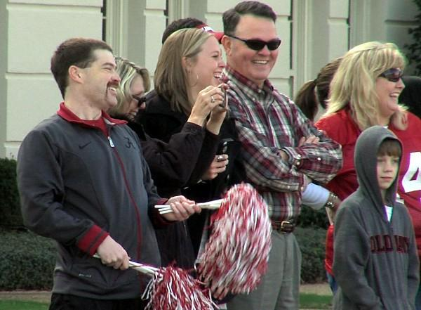 Alabama fans having fun during the BCS National Championship parade on Saturday, January 19, 2013.