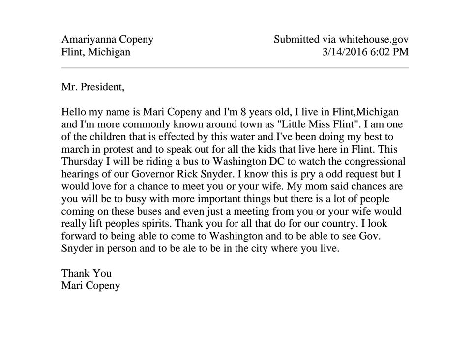 Letter written by Amariyanna Copeny to President Obama. (The White House)
