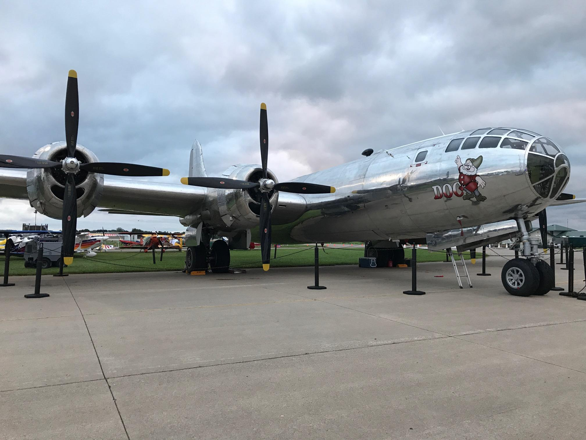 "The B-29 bomber ""Doc"" is on display at EAA AirVenture in Oshkosh July 24, 2017. (WLUK/Lauren Kalil)"